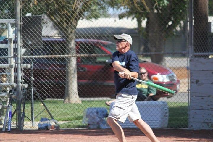 Dave playing baseball
