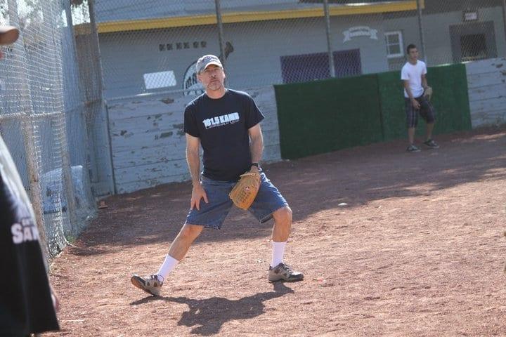 Mark playing baseball